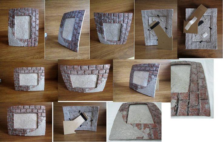 Cornice di carta effetto muro color mattone e grigio per for Cornici per foto 10x15