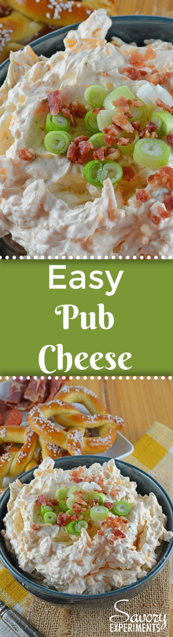 Easy Pub Cheese Recipe is a spreadable, zesty, no-cook appetizer in 5 just minutes! Serve with soft pretzels, carrot or celery sticks or chips! #pubcheese #nocookappetizers www.savoryexperiments.com via @savorycooking