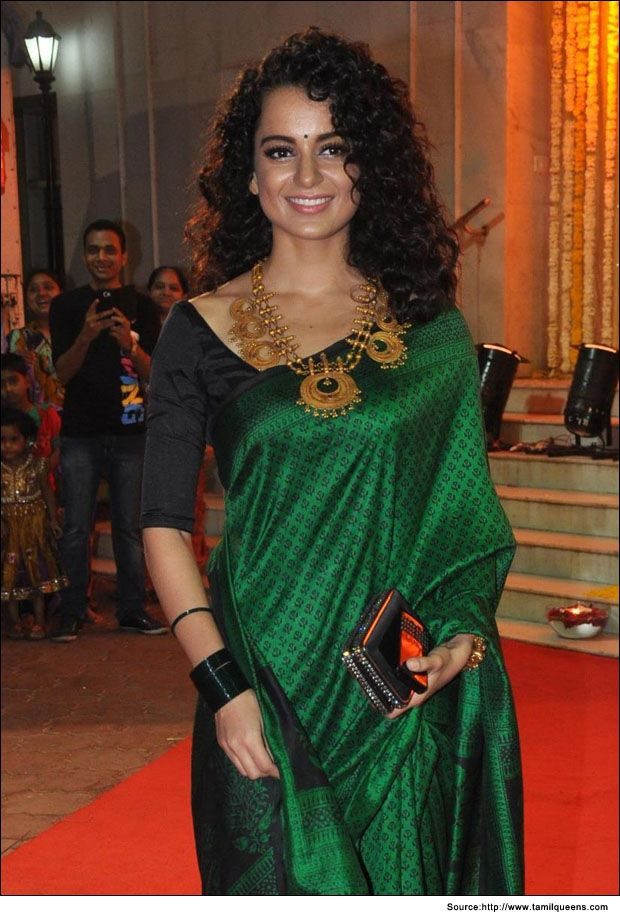 Kangana ranawat in a plain black blouse design for silk saree  #BlouseDesigns #SilkSarees