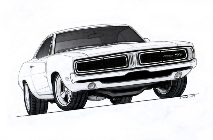1969 Dodge Charger R/T Pro Touring Drawing by Vertualissimo.deviantart.com on @DeviantArt