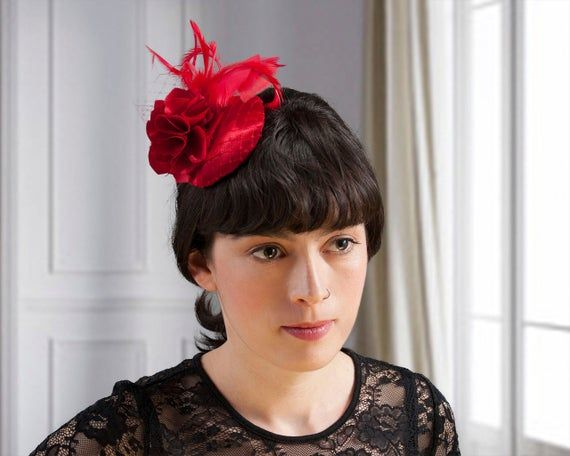 Fascinator Red, Headpiece Vintage Style, Wedding Headpiece Guests, Short Hair, Hair accessories, Pro