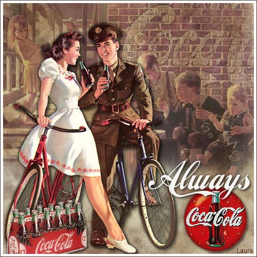 WWII themed ad for Coca~Cola featuring a soldier and a pretty girl enjoying a drink together.