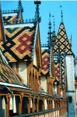 Beaune, France. A beautiful small town with amazing tiled rooftops.  Les hospices de Beaune