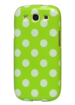 Coque vert à pois blancs Galaxy S3  8,29€
