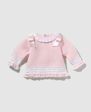 Jersey de bebé niña en rosa con lazos