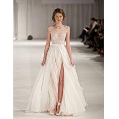 Ivory prom dress, charming prom dress, side split prom dress, popular prom dress, inexpensive prom dress, a line prom dress, evening dress, 15364
