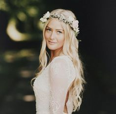 loose boho waves with a classic pastel coloured floral crown made from gypsophila, roses, and tulips.