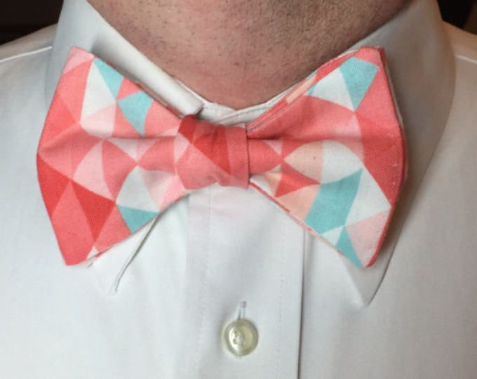 Coral Pink Bow Tie Pale Pink Blue Bow Tie Girls Pink Blue Bow Tie Mens Bow Tie Uganda Bow Tie Fathers Day Bow Tie