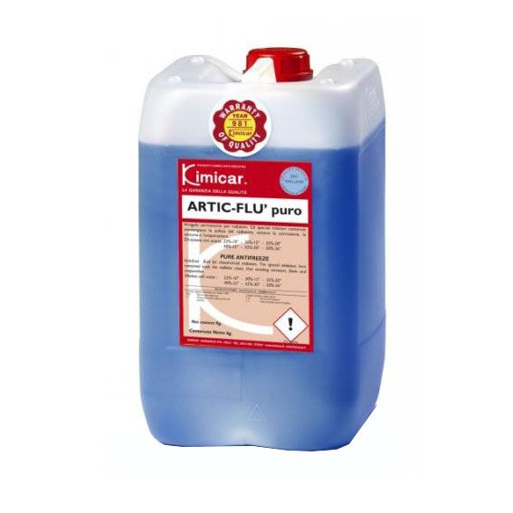 ARTIC FLU' PURO25 KG. Antigelo permanente per radiatori.  Gli speciali inibitori contenuti mantengono la pulizia del radiatore,  evitano la corrosione, la schiuma e l'evaporazione.