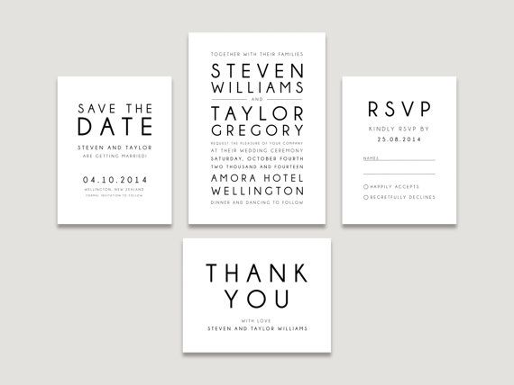 Printable Wedding Invitation Modern Suite RSVP by FalmariPaperCo