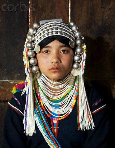Akha Hill Tribe Burmese girl in traditional headdress