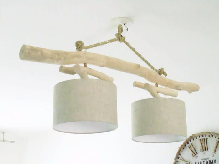 Lustre/plafonnier en bois flotté Lin 28cm création unique