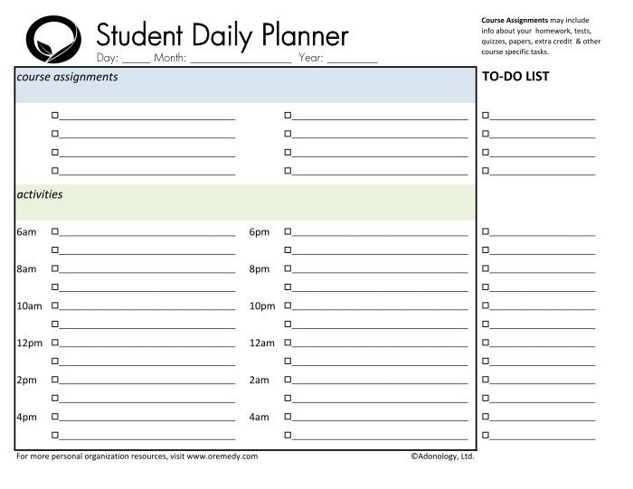 daily study planner template - 28 images - study planner printable ...