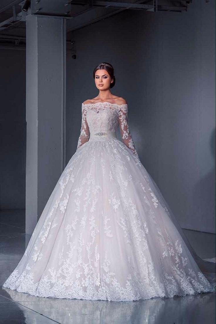 Robe De Mariage 2016 Off the Shoulder Lace Islamic Wedding Dress Ball Gown Long Sleeve Bridal Dresses Belt Court Train