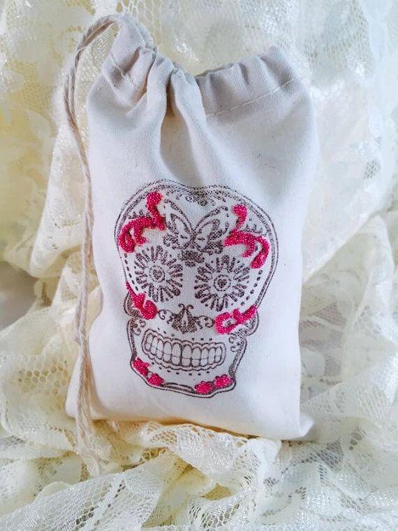 Sugar Skull Favor Bags - Sugar Skull Party - Sugar Skull Decorations - Day of the Dead Bags - Sugar Skull Candy Bar - Set of 10 - Customized
