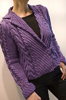 """Summer Hours by Chris Bylsma is knit in a DK 8ply and features a shawl collar, split turned back cuffs. Sized 34"""" to 42"""""""