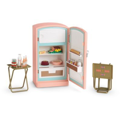 Maryellen's Refrigerator & Food Set   BeForever   American Girl with new kitchen set great for those who love Grace too and set her up back at home for her catering service. Very cozy pretend set for those who like cute appliances with modern kitchens
