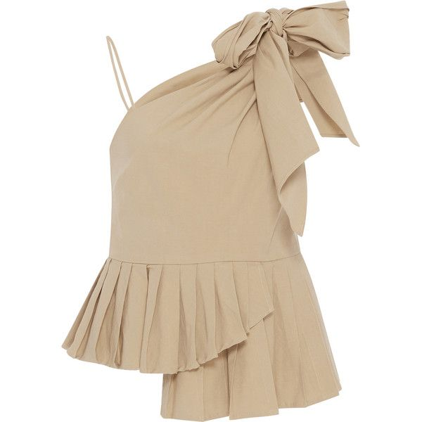 Sea One Shoulder Bow Top (2.885 NOK) ❤ liked on Polyvore featuring tops, tan, bow top, one sleeve top, pleated top, brown top and one shoulder top
