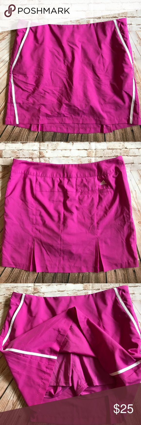 """Adidas Pink ClimaCool Sports Skirt Size 12 Adidas ClimaCool sports skirt with inner shorts.  Great for tennis or golf. 100% polyester. 2 front pockets, 1 back pocket. Side zip closure. Approximate flat lay measurements are Waist 17.5"""", Length 18"""". adidas Skirts"""