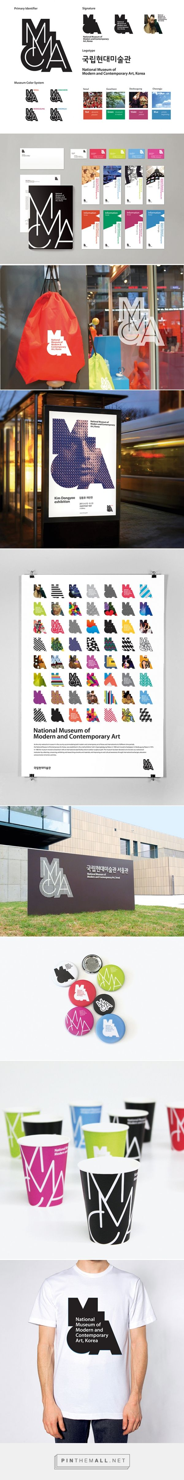 MMCA (National Museum of Modern and Contemporary Art, Korea) - 2013 | By Infinite, Seoul http://www.infinite.co.kr   A wide colour spectrum in combination with a versatile image language allows it to emotionally appeal to the target group. In visual aspects, the logo amplifies the sense of space and three-dimensionality through irregular shapes and expresses the future of the MMCA as a multi-cultural place. The museum identity aims to enable communication locally as well as globally.