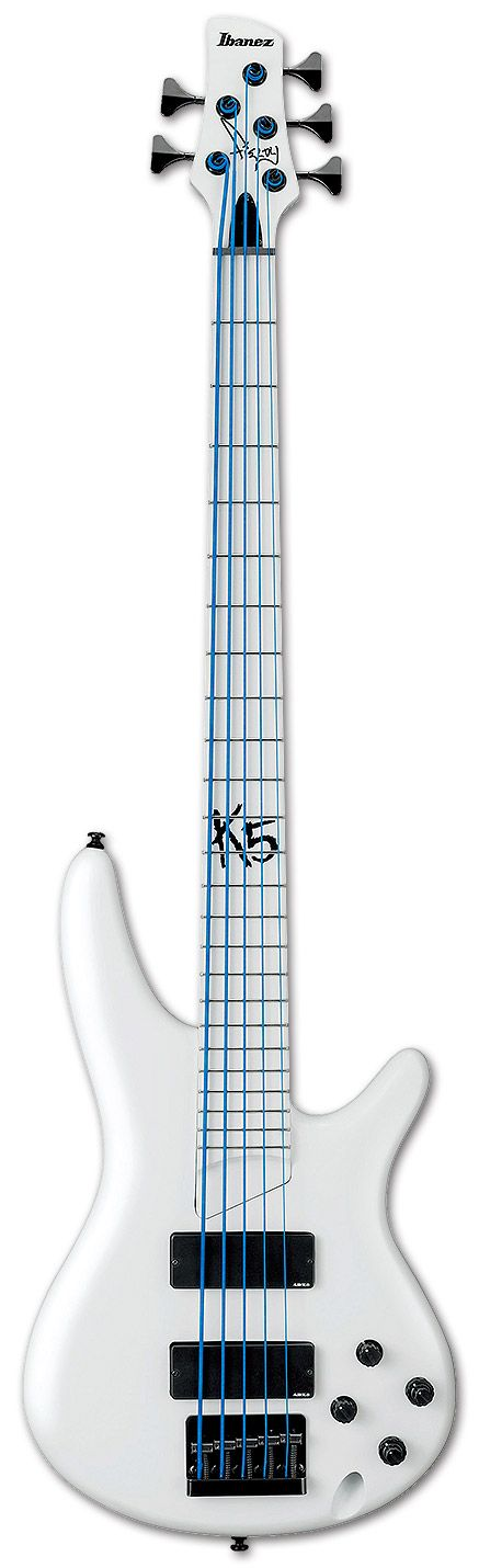 Ibanez K5WHLTD Fieldy Signature Bass Limited with DR NEON™ HI-DEF BLUE™ strings
