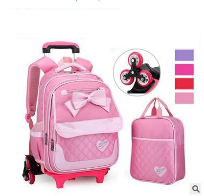Brand kids backpacks with wheels for school Children Travel Luggage Trolley bag on wheels Carton kids Rolling Suitcase Mochilas