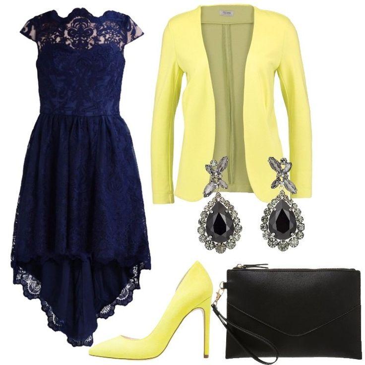 Se volete essere le più belle ed eleganti, dovete indossare questo vestito blu, abbinato ad un blazer giallo. Per completare il look, ho scelto un paio di tacchi, sempre gialli, e una pochette nera.