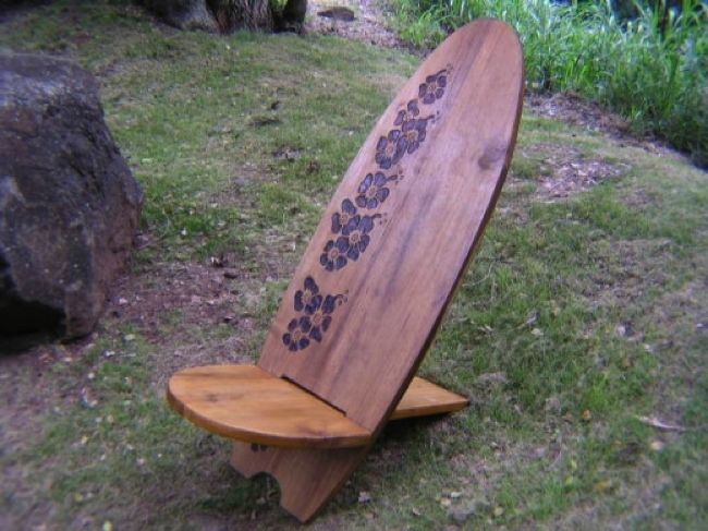 surfer decor | Longboard Surf Chair Hibiscus Design Pool Decor, Surfing Decor ...