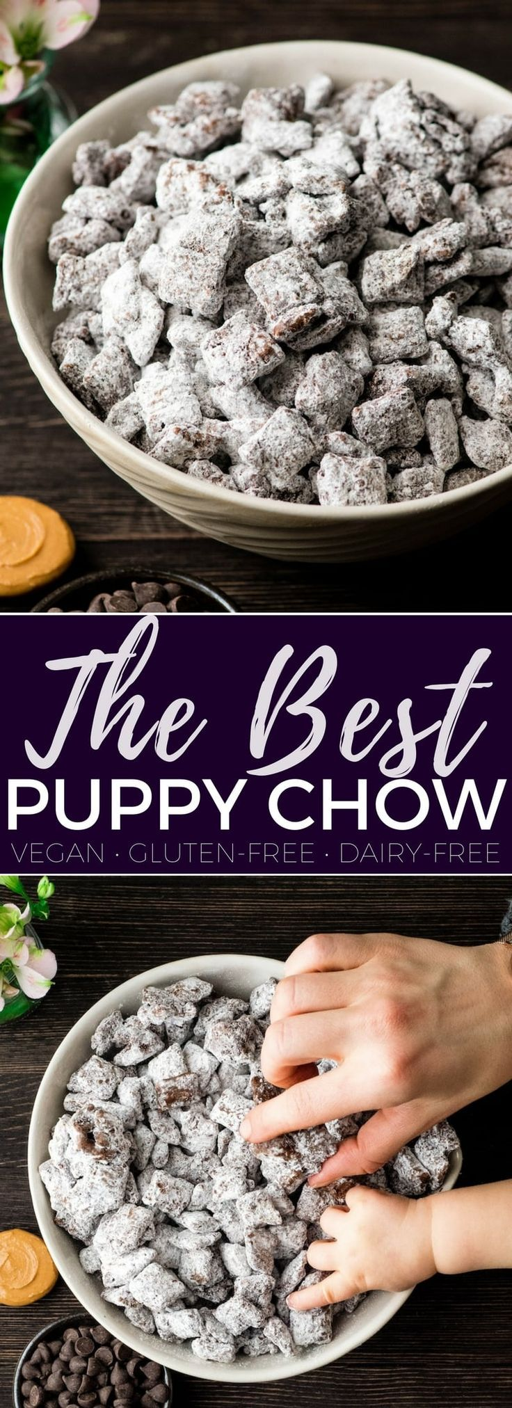 The Best Puppy Chow Recipe EVER! Only 4 ingredients and a few minutes results in an irresistible dessert loaded with chocolate and peanut butter! The perfect sweet treat to feed a crowd! AKA: Muddy Buddies! Plus, it's gluten-free, dairy-free, and vegan! #puppychow #muddybuddies #dessert #glutenfree #dairyfree #vegan #chocolate #peanutbutter