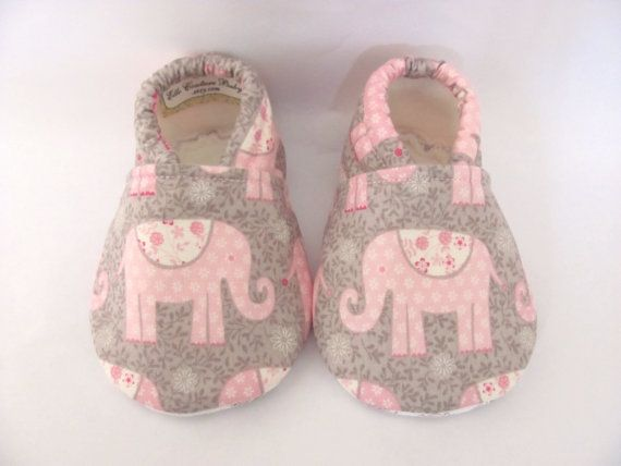 ON SALE Pink and Grey Elephant Baby Girl Shoes by ElleCoutureBaby, $17.50
