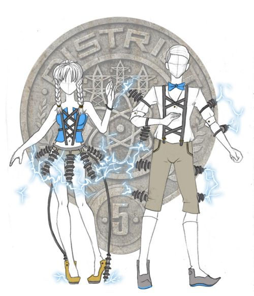 "District 5. ""My concept for this one is that a brother and sister got reaped together, and so I did a sort of Hansel and Gretel like costumes! But with an electrical twist! I definitely focused more on the electrical power thing. LIGHTNING SKIRT YAYY."" ~lancet.tumblr.com"