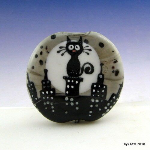 """BIG CITY KITTY"" byKAYO a Handmade CAT Lampwork Art Glass Focal Bead SRA #Lampwork"
