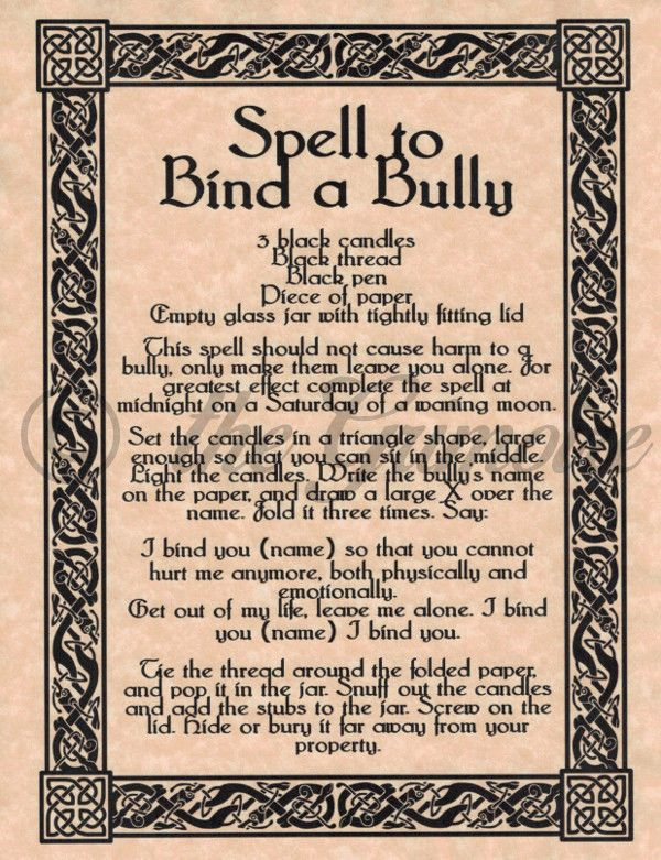 Spell to Bind a Bully, Stop Your Enemy in His Tracks! Book of Shadows Page picclick.com
