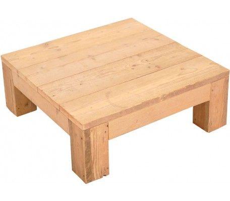 Handgemaakte steigerhouten salontafel. Vervaardigd uit gebruikt steigerhout. De tafel heeft een afmeting van 100 x 100 en een hoogte van 30.