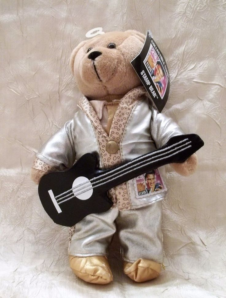 """Elvis Presley Collectible Stamp Bear 9"""" Plush Toy Issued By U.S. Postal Service"""