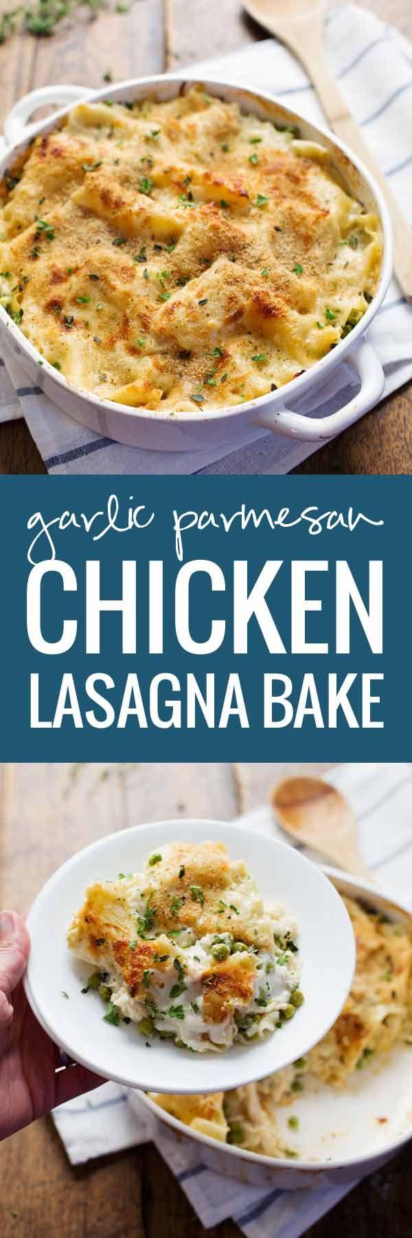 Garlic Parmesan Chicken Lasagna Bake - Layers of lasagna noodles, chicken, peas, creamy garlic Parmesan sauce --> no cans, all real, totally yummy. 300 calories.