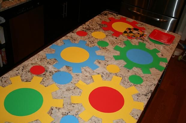 Mickey Mouse Clubhouse gears made out of posterboard from the Dollar Tree. = Hostess with the Mostess® - MIckey Mouse 2nd Birthday Party