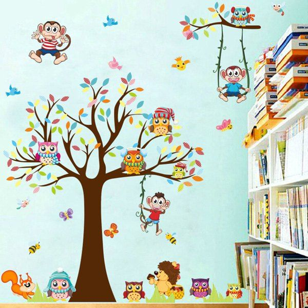 Cartoon Monkey and Tree PVC Removable Wall Stickers