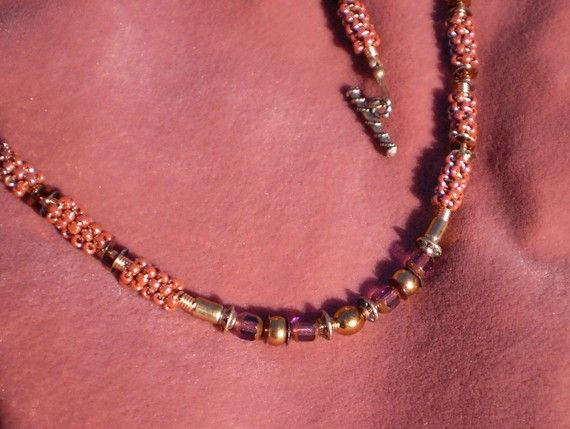 Copper and Soft Mauve Spiral Necklace by EachBeadCounts on Etsy