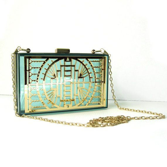 Green Transparent Clutch  Gold Mirror Art Deco Laser by FabParlor, $34.00
