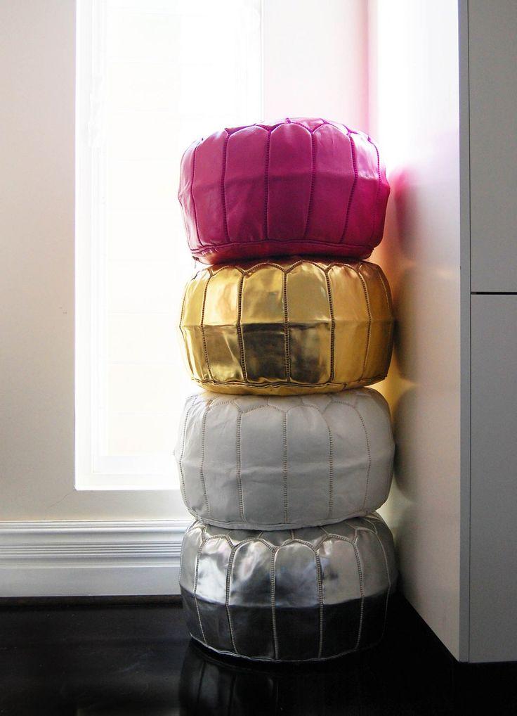 Bromeliad: Metallic Moroccan poufs - Fashion and home decor DIY and inspiration