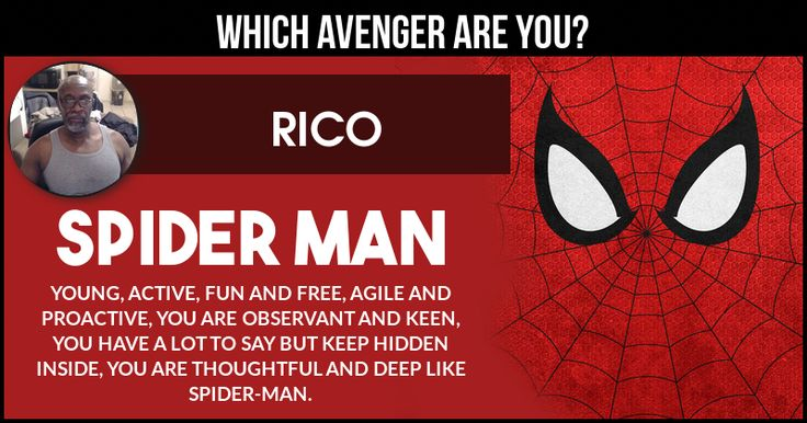 <b>Rico</b>, Avenger characters are the heroes that will keep the Earth safe from anyone who will be dangerous for Humanity. This Avenger Character matches your personality best. Share this result and let everyone know your Avenger personification.