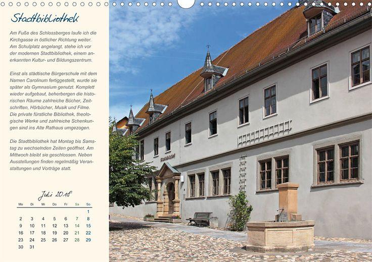"""Städte- und Regionalkalender """"Rudolstadt – mein Spaziergang durch den historische Stadtkern"""", Kalenderblatt Juli: Stadtbibliothek"""