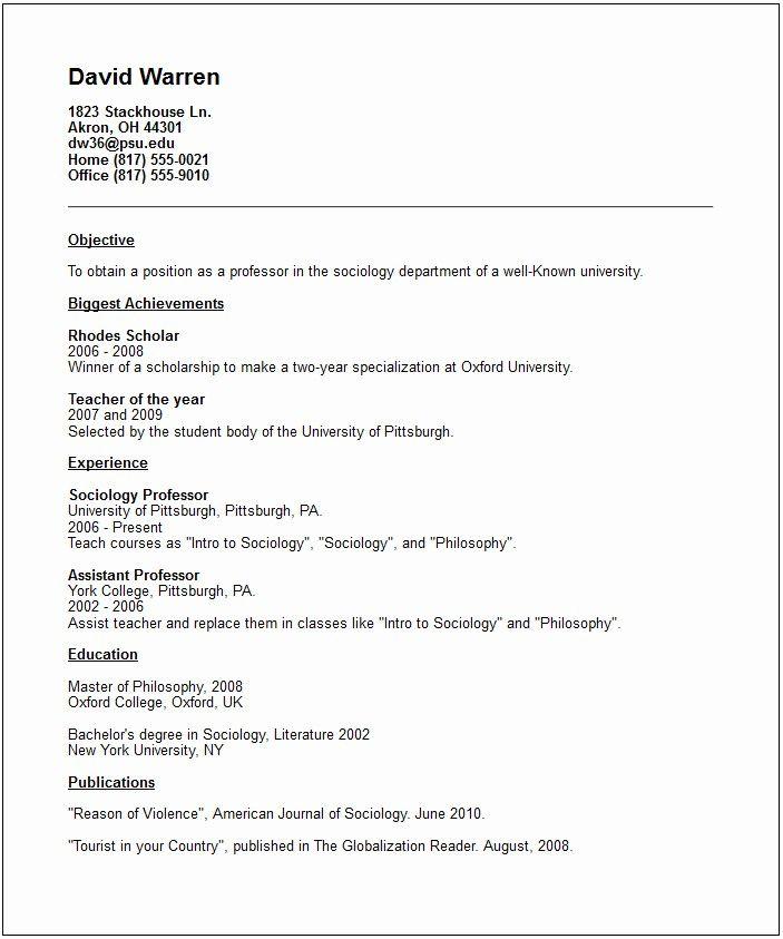 Sociology Resume Objective New Best S Of Academic Cv Template Word Academic Cv Teacher Resume Template Free Teacher Resume Template Resume Examples
