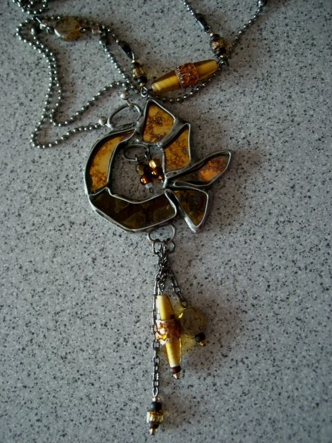 long necklace, stained glass- tiffany technic, gold fish, Seemoon