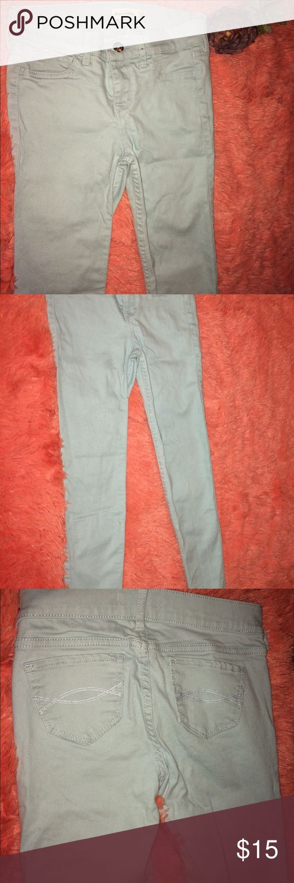 Abercrombie girls 14 slim jeans. Worn twice. Almost new Abercrombie kids pearlized blue jeans. They are size 14 slim. worn twice. They are high waisted abercrombie kids Bottoms Jeans