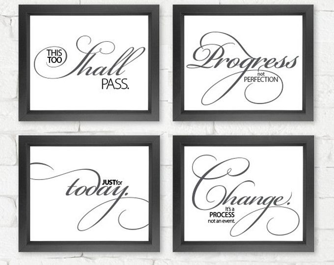 Inspiring Quotes Set Of 4 Prints Frames Not Included Typography Poster Wall Art Wall Decor Inspirational Art Great Quotes Motivational Art Prints Word Art Design Prints