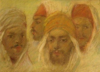 Emile DECKERS.  Quatre têtes d'hommes arabes. Pastel, 19 x 26. Si