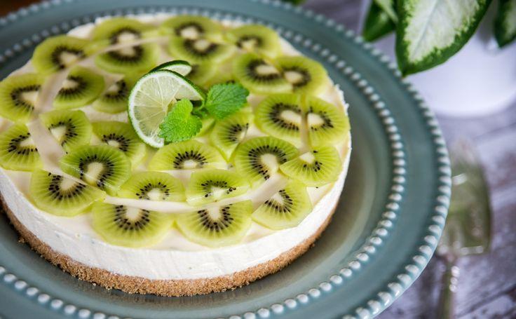 Läcker cheesecake med kiwi och lime!