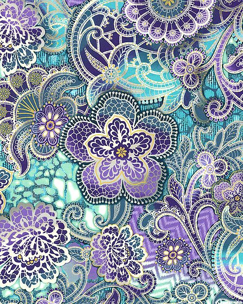 eQuilter Fortissimo Metallic - Lacy Paisleys - Turquoise/Gold